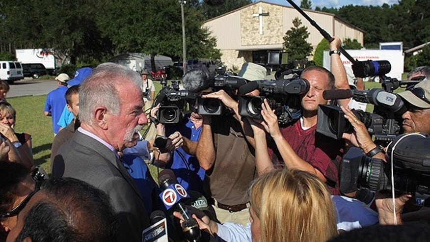 Sept. 9: Dove World Outreach Center pastor Terry Jones speaks to the media in Gainesville, Florida.