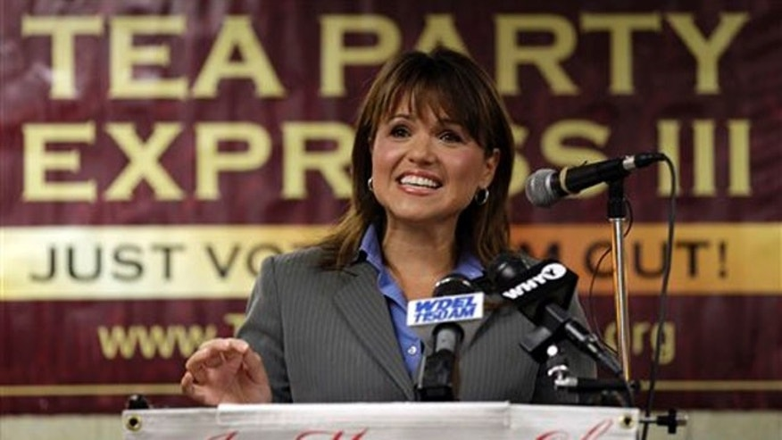 Senate candidate Christine O'Donnell addresses supporters during a Tea Party Express news conference Sept. 7 in Wilmington, Del. (AP Photo)