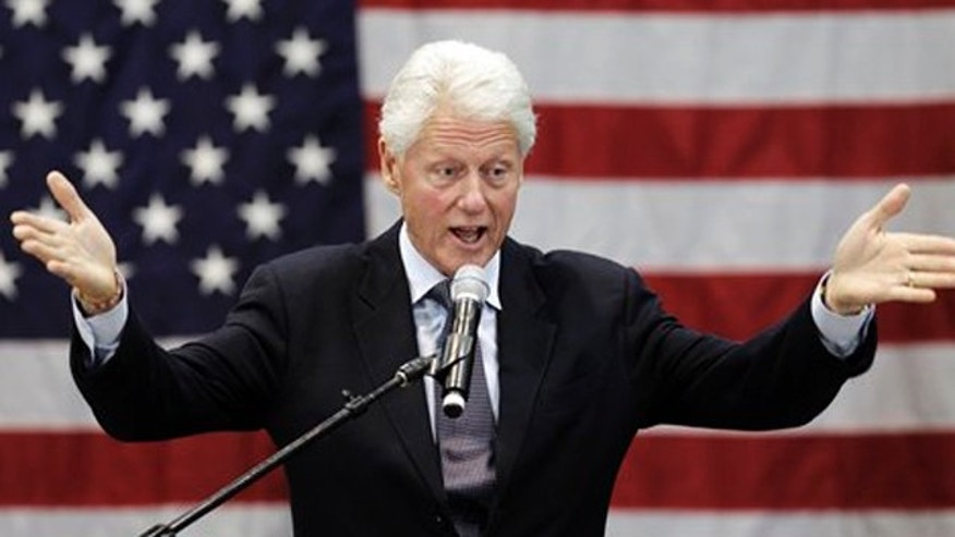Former President Bill Clinton speaks at a rally for Ohio Democratic Gov. Ted Strickland Tuesday, Sept. 14, 2010, in Cleveland. Clinton said Strickland has created an award-winning economic development program for Ohio and should be re-elected. (AP Photo/Tony Dejak)