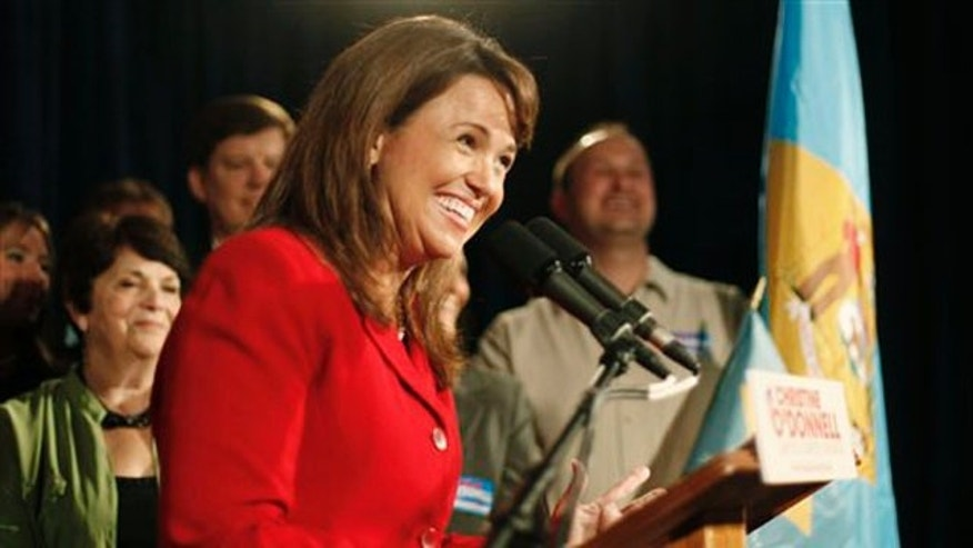 Senate candidate Christine O'Donnell addresses supporters after winning the Republican nomination for Senate in Delaware Sept. 14, 2010, in Dover, Del. (AP Photo)