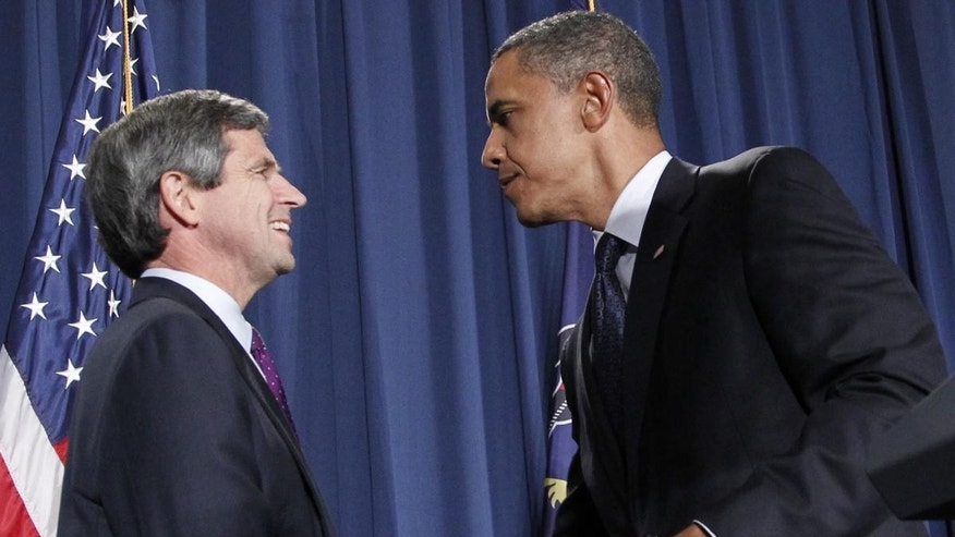 President Obama and Rep. Joe Sestak Monday/Associated Press