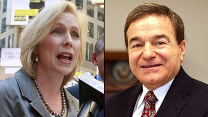 Shown here are New York Sen. Kirsten Gillibrand, left, and opponent Joe DioGuardi.