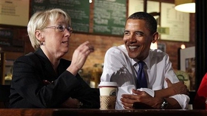 Aug. 17: President Obama and Sen. Patty Murray, D-Wash. , left, take part in a roundtable discussion with small business owners at Grand Central Bakery in Seattle.