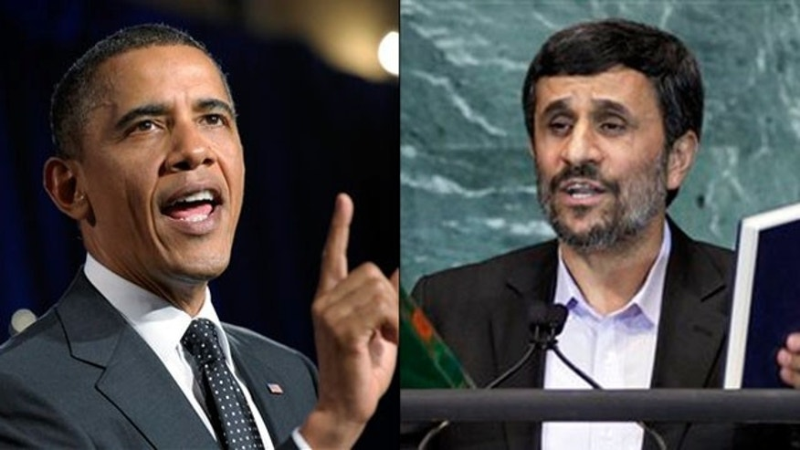 Shown here are President Obama, left, and Iranian President Mahmoud Ahmadinejad. (AP Photos)