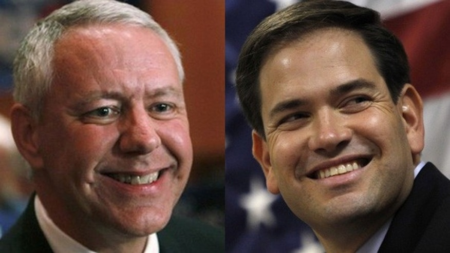 Colorado Republican Senate candidate Ken Buck, left, and Florida Republican Senate candidate Marco Rubio