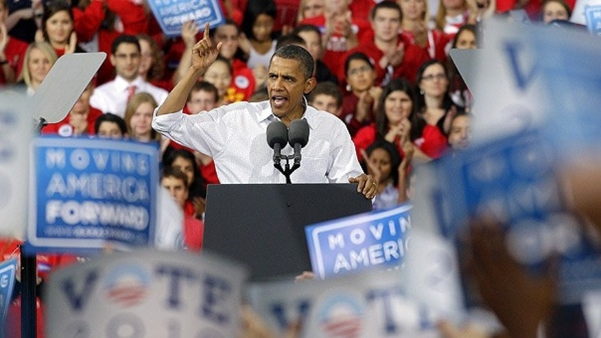 Sept. 28: President Obama speaks at a rally on the University of Wisconsin campus in Madison.