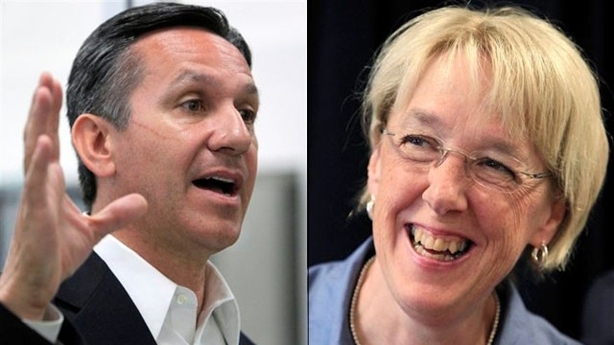 Shown here are Washington Republican Senate nominee Dino Rossi, left, and Democratic Sen. Patty Murray. (AP Photos)