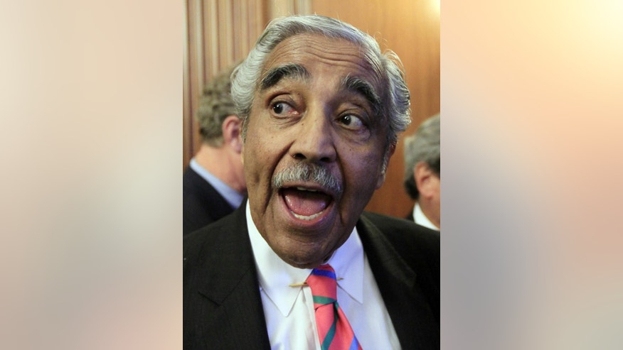 Rep. Charlie Rangel, D-N.Y., answers questions from the media on Capitol Hill in Washington Thursday, July 22, 2010. (AP Photo/Alex Brandon)