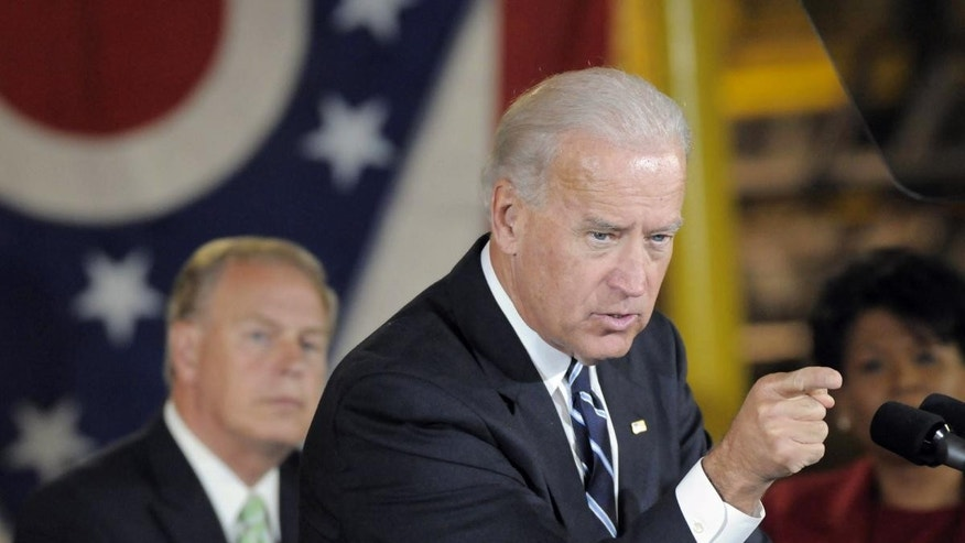 Vice President Joe Biden, appears at a campaign rally in Youngstown, Ohio, Monday, Oct. 4, 2010. (AP Photo/Mark Stahl)