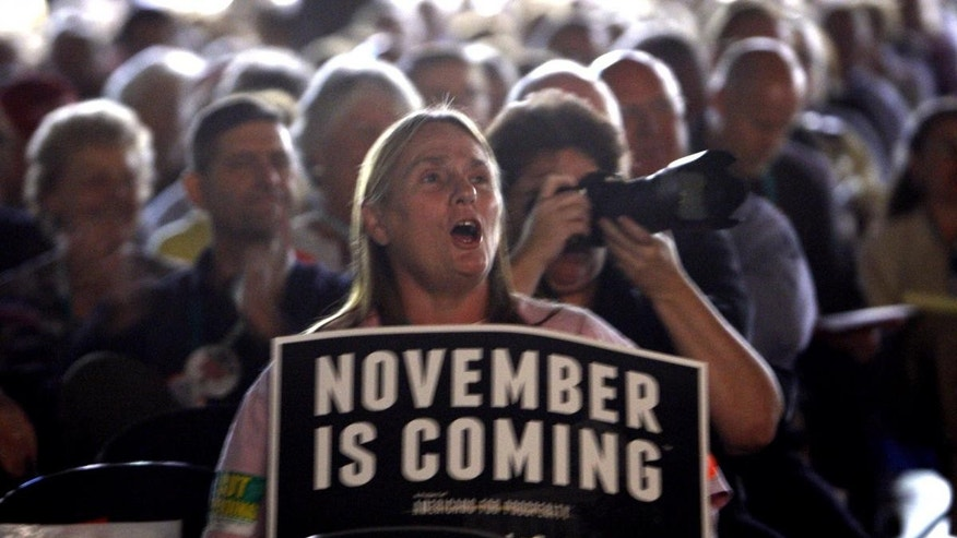 Susan Rocissono, from Mechanicsville, Va., reacts to one of the speakers at the Virginia Tea Party Patriots Convention in Richmond, Va., Friday, Oct. 8, 2010. (AP Photo/Richmond Times-Dispatch, Bob Brown)