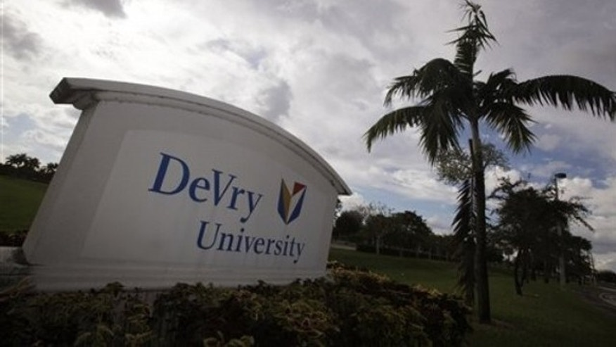 This Nov. 24, 2009 photo, shows the entrance to the DeVry University in Miramar, Fla. (AP)