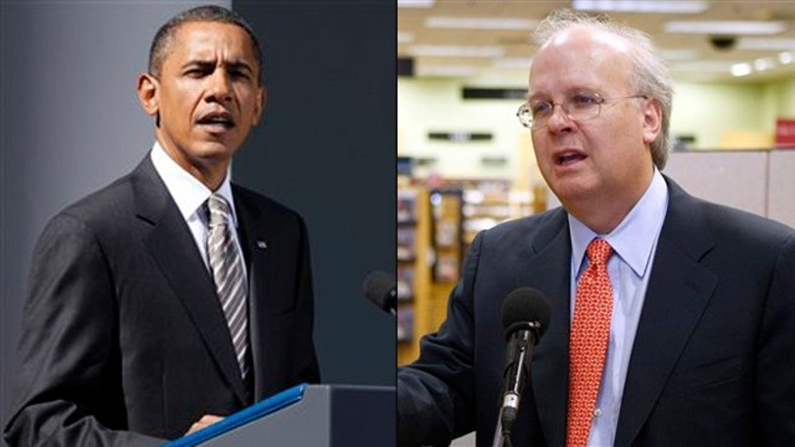 Shown here are President Obama and Republican strategist Karl Rove. (AP Photos)
