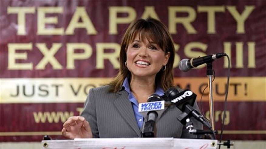 FILE: Delaware Republican Senate candidate Christine O'Donnell addresses supporters during a Tea Party Express news conference in Wilmington, Del., on Sept. 7.
