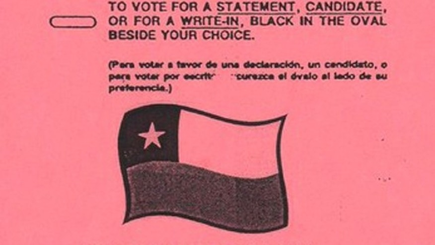 Texas absentee ballot packet had Chilean flag on it.