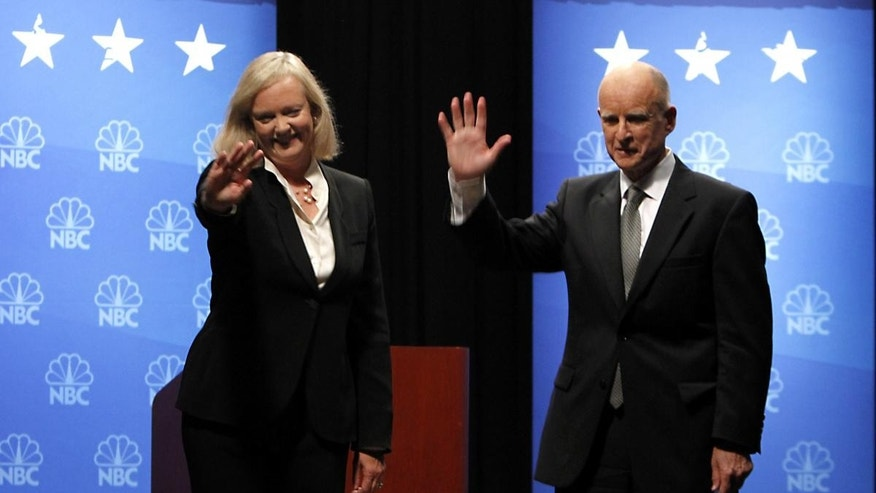 Republican gubernatorial candidate Meg Whitman, left, and her opponent, Democrat Jerry Brown waves to the crowd after their third and final debate held at Dominican University in San Rafael, Calif., Tuesday, Oct. 12, 2010. (AP Photo)