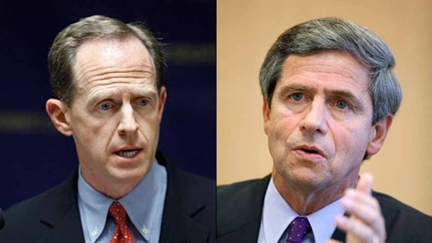 Shown here are Pennsylvania Senate candidates Pat Toomey, left, and Rep. Joe Sestak. (AP Photos)