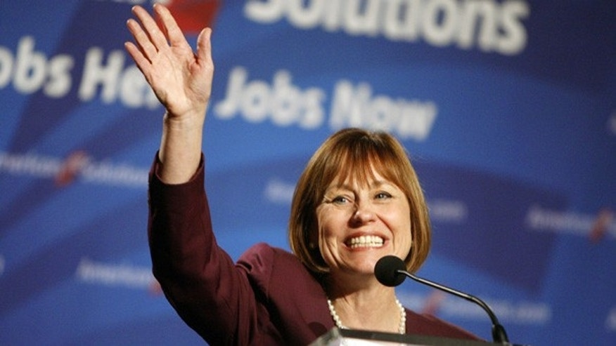 Oct. 21: Republican Senate candidate Sharron Angle at a rally in Las Vegas.