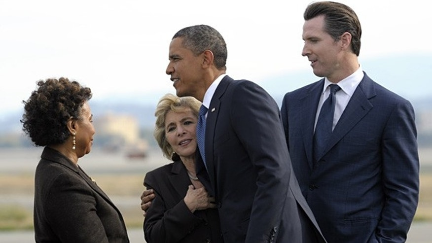 Oct. 21: President Obama greets Sen. Barbara Boxer, D-Calif., as Rep. Barbara Lee, D-Calif., left, and San Francisco Mayor Gavin Newsom watch at San Francisco airport.