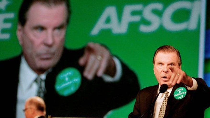AFSCME President Gerald McEntee, seen here addressing the union's convention in July 2008, heads the AFL-CIO's political committee.