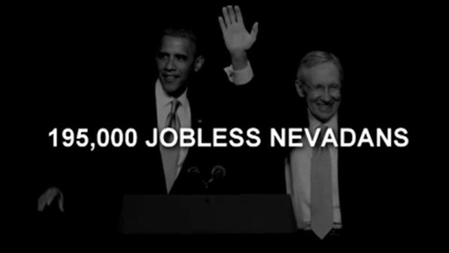 Shown here is an image from Nevada Senate candidate Sharron Angle's latest campaign ad. (YouTube)