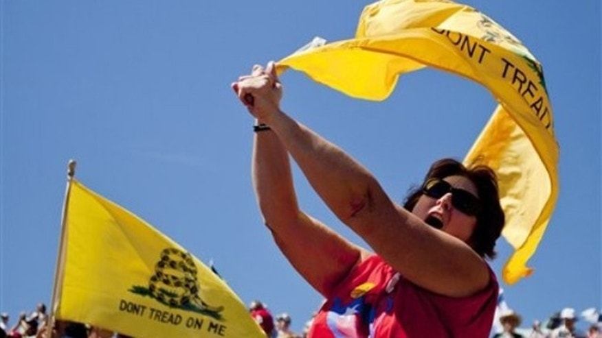 "Sept. 12: Mary Syron, of St. Louis, gathers with other Tea Party supporters on the steps of the Gateway Arch during the ""Gateway to November"" rally hosted by the St. Louis Tea Party and Tea Party Patriots in St. Louis."