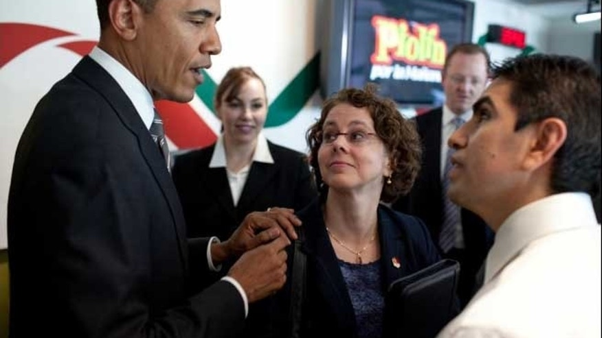 "President Barack Obama introduces Cecilia Munoz, Assistant to the President for Intergovernmental Affairs, to radio show host Eddie ""Piolin"" Sotelo at the Univision Radio building in Glendale, Calif., Oct. 22, 2010. The President taped an interview with Piolin, who has one of the top radio shows in the country. (Official White House Photo by Pete Souza)2 of 16"