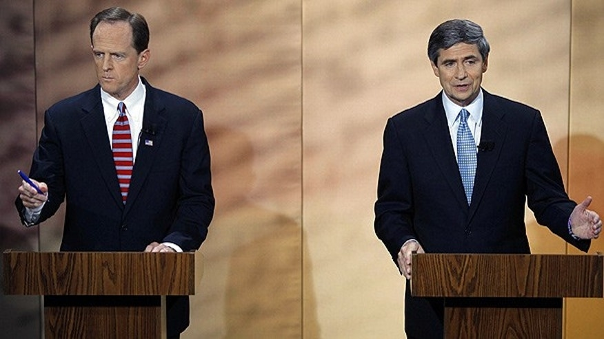 Oct. 20: Pennsylvania Senate candidates Republican Pat Toomey, left, and Democratic Rep. Joe Sestak debate at at the National Constitution Center in Philadelphia.