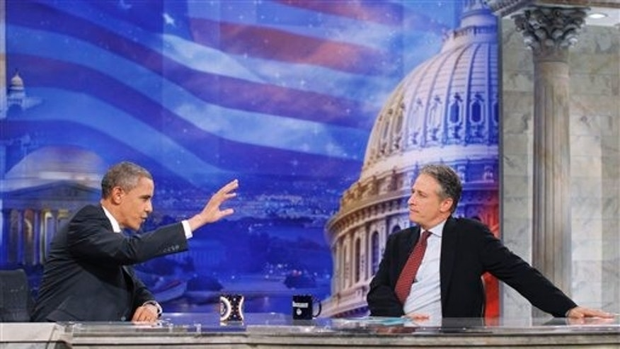 President Obama and 'The Daily Show' host Jon Stewart in Washington.