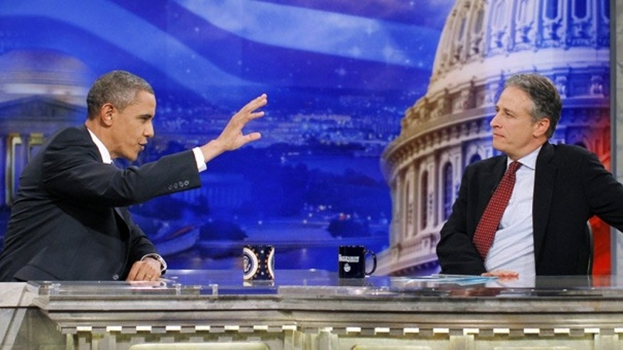 Oct. 27: President Obama and 'The Daily Show' host Jon Stewart in Washington.