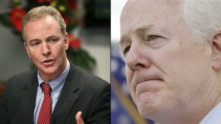 Shown here are Democratic Rep. Chris Van Hollen, left, and Republican Sen. John Cornyn. (Reuters/AP Photos)