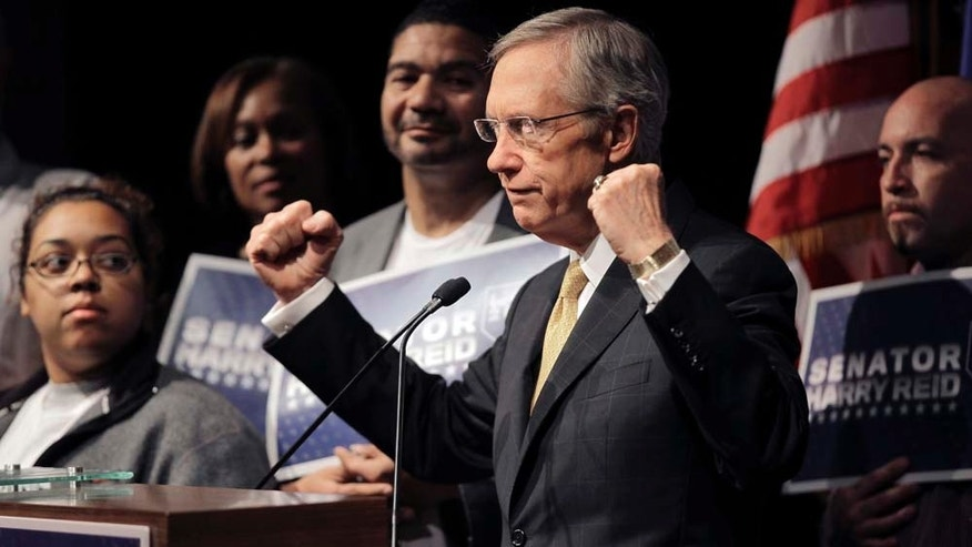 Senate majority leader Harry Reid, D-Nev., answers questions at a news conference Wednesday, Nov. 3, 2010, in Las Vegas. (AP Photo/Julie Jacobson)