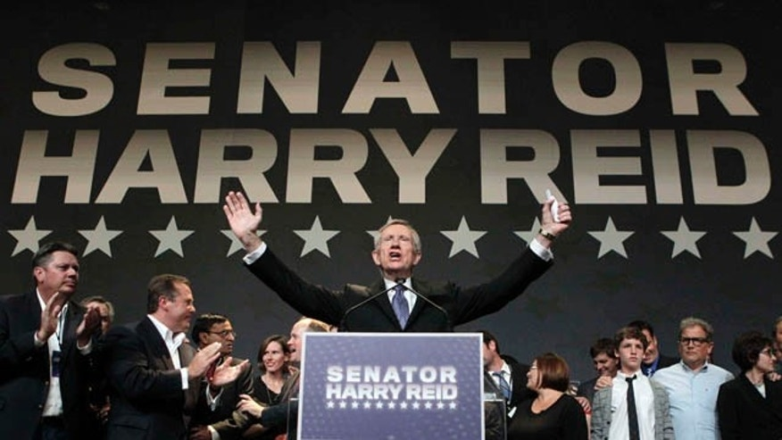 Nov. 2: Sen. Harry Reid, D-Nev., speaks after defeating Sharron Angle to win re-election at the Nevada State Democratic election night in Las Vegas.