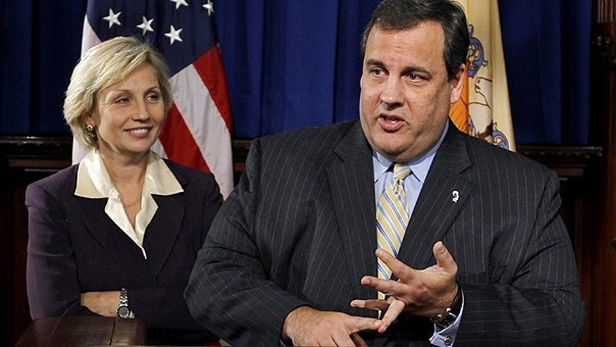 Nov. 3: New Jersey Lt. Gov. Kim Guadagno looks on in Trenton, N.J. as Gov. Chris Christie emphatically counts out the ways that he has said he won't run for president.