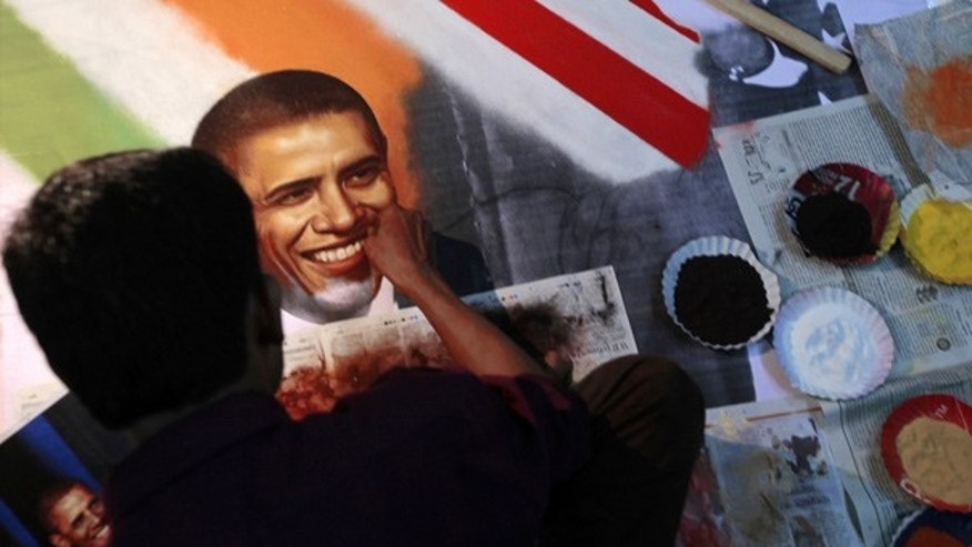 Nov. 4: An Indian artist makes an art piece depicting President Obama at a studio in Thane, near Mumbai.