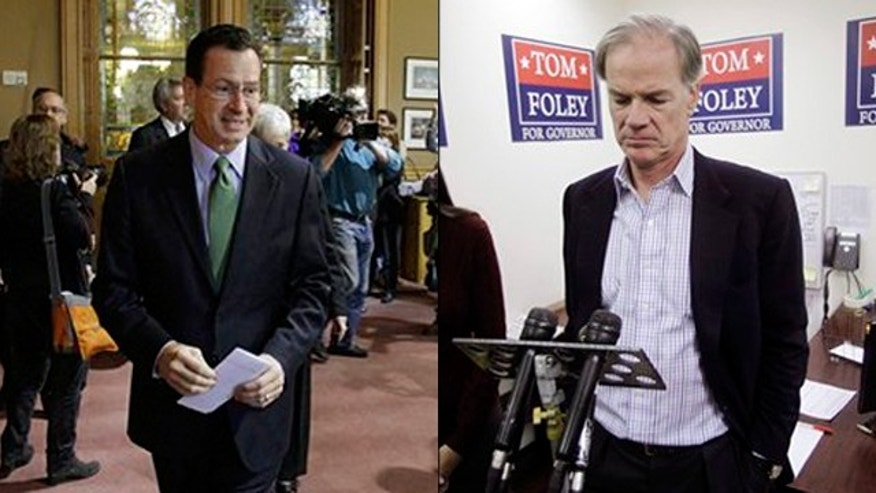 Shown here are Democrat Dan Malloy, left, and Republican Tom Foley, both candidates for Connecticut governor. (AP Photos)