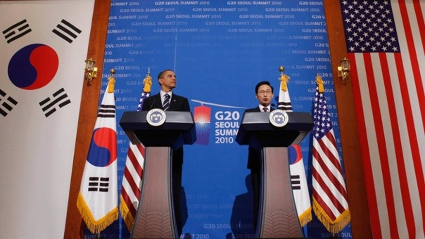 Nov. 11: President Obama and South Korea President Lee Myung-bak hold a joint news conference at Blue House in Seoul.