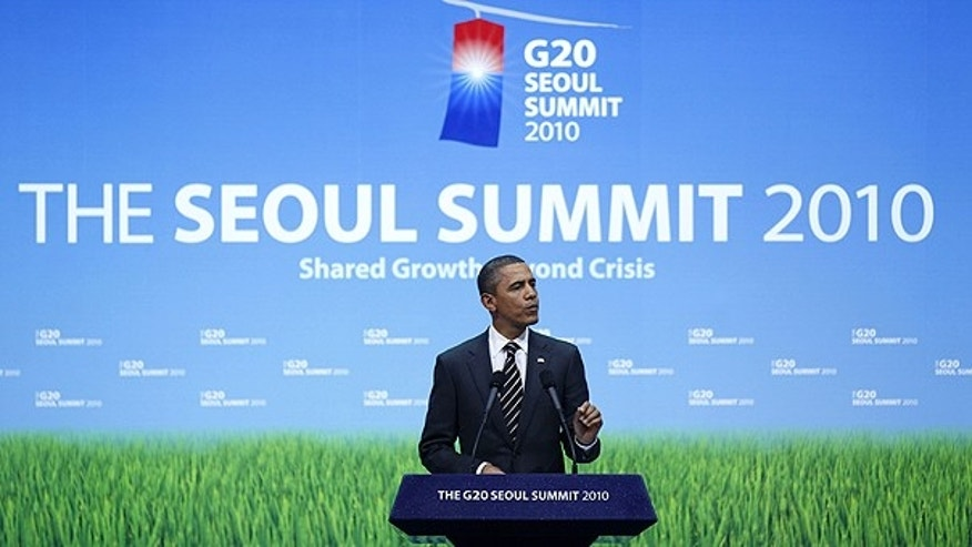 Nov. 12: President Obama speaks during his news conference at the G-20 summit in Seoul, South Korea.