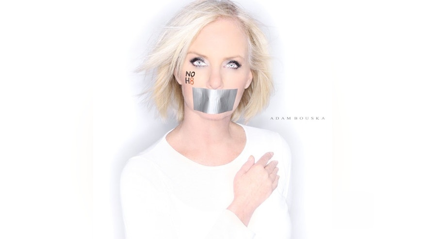 Cindy McCain poses for the NoH8 Campaign, a group that opposes the California proposition banning gay marriage, in September. (Image courtesy NoH8 Campaign)