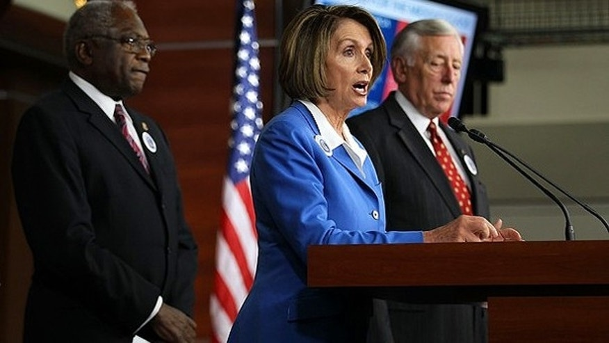 Sept. 30: Speaker of the House Rep. Nancy Pelosi (D-CA) speaks as House Majority Leader Rep. Steny Hoyer (D-MD) (R), and House Majority Whip James Clyburn (D-SC) (L) listen during a news conference on Capitol Hill.