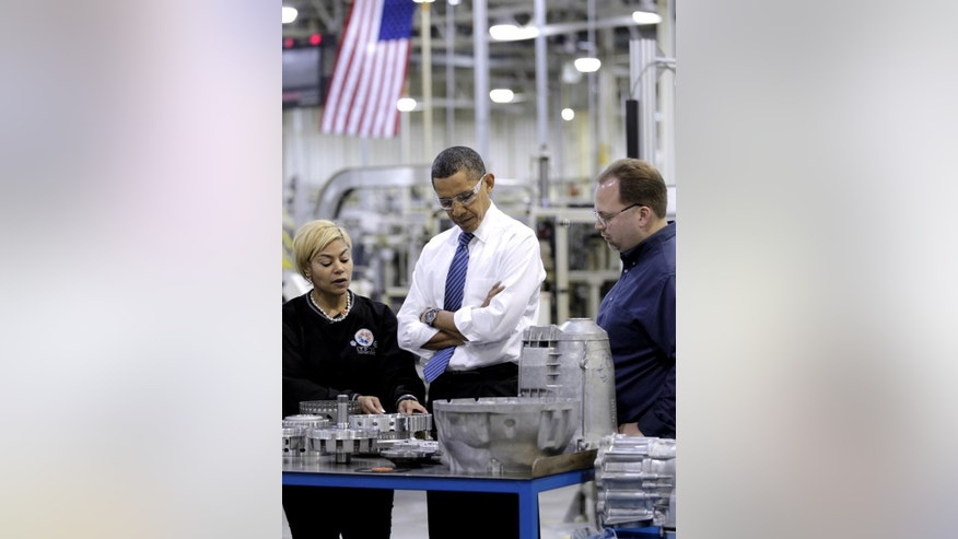 President Barack Obama tours Chrysler's Indiana Transmission Plant II in Kokomo, Ind., Tuesday, Nov. 23, 2010. (AP Photo/J. Scott Applewhite)