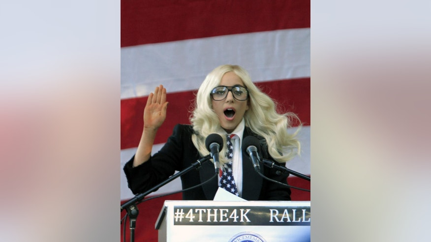 Lady Gaga speaks at a September 10, 2010 rally supporting a repeal of Don't Ask Don't Tell (AP Photo)