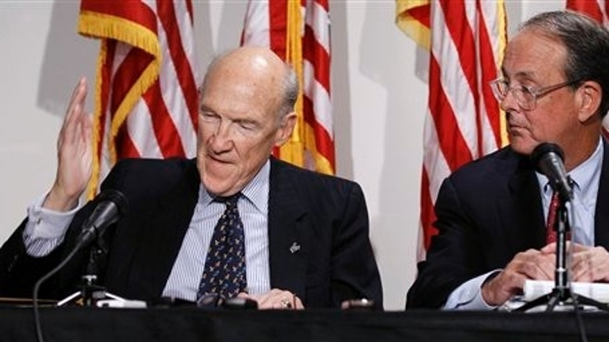President Barack Obama's Debt Commission co-chairmen, Erskine Bowles right, and former Wyoming Sen. Alan Simpson, take part in a news conference on Capitol Hill in Washington Tuesday, Nov. 30, 2010. (AP Photo/Alex Brandon)