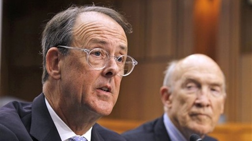 Debt Commission co-chairmen Erskine Bowles, left, and Alan Simpson speak to the media after a meeting in Washington Dec. 1. (AP Photo)