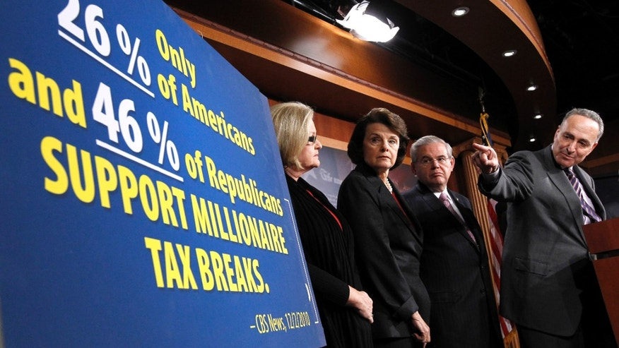 Dec. 3 From left, Sen. Claire McCaskill, D-Mo., Sen. Dianne Feinstein, D-Calif., Sen. Robert Menendez, D-N.J., and Sen. Charles Schumer, D-N.Y., take part in a news conference on Capitol Hill to discuss proposals to continue the Bush era tax cuts.
