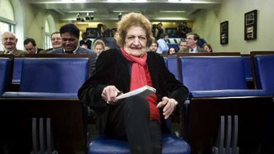 Helen Thomas sits in what was then her front-row seat in the White House Briefing Room. Thomas has been criticized for her anti-Semitic remarks lately, causing her to lose her seat, and other honors in her name.