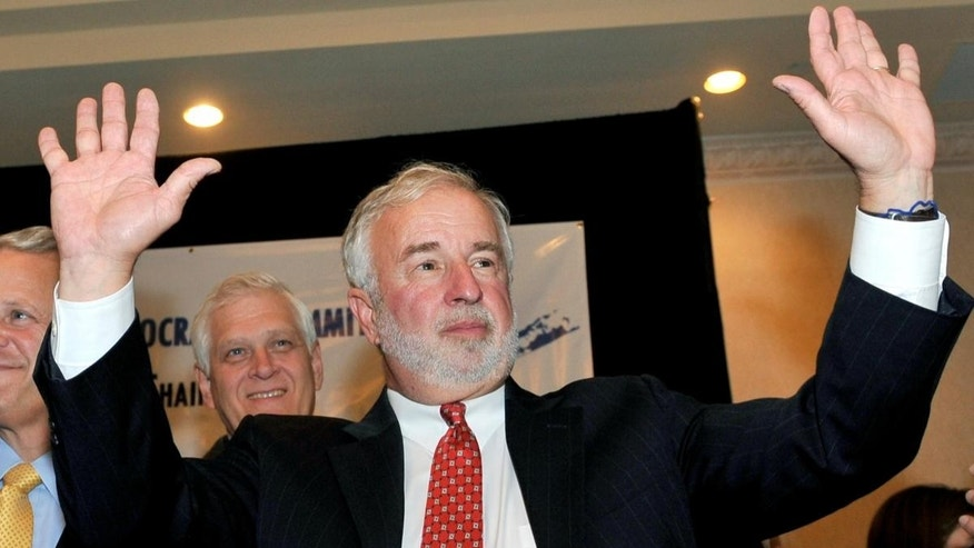 Rep. Tim Bishop waves to supporters at the Islandia Marriott on Tuesday, Nov. 2, 2010, in Islandia, N.Y. (AP Photo/Kathy Kmonicek)