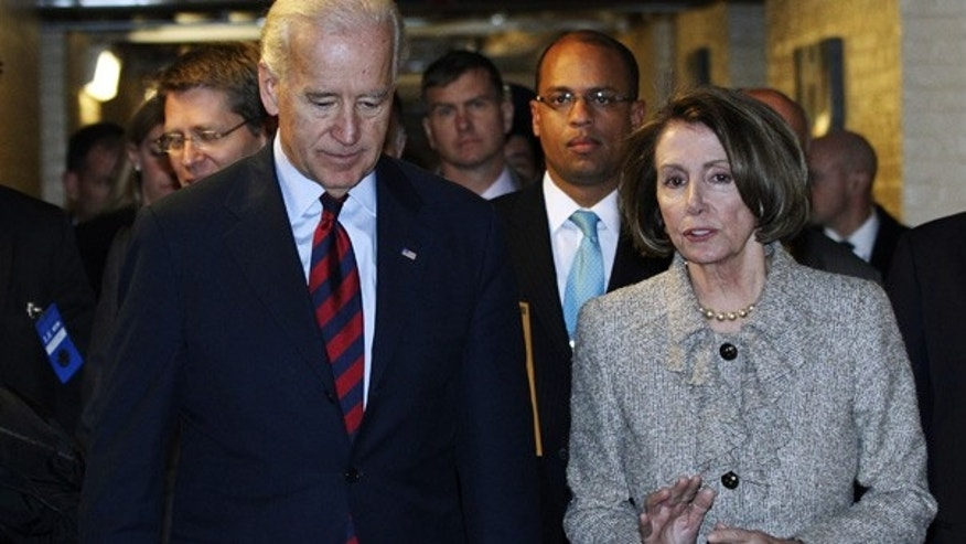 Dec. 8: Vice President Joe Biden and House Speaker Nancy Pelosi talk after a Democratic Caucus meeting on Capitol Hill.