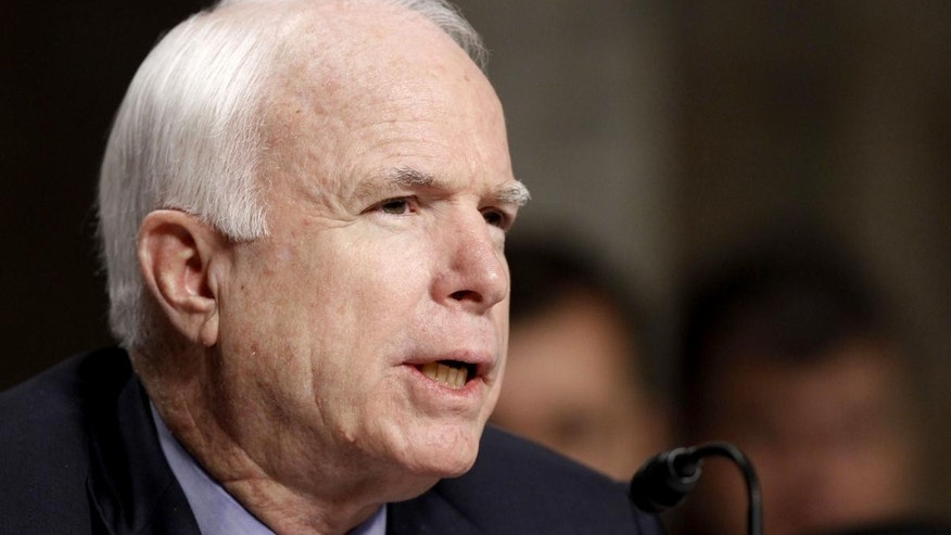 Sen. John McCain, R-Ariz., the ranking Republican on the Senate Armed Services Committee, speaks on Thursday, Dec. 2, 2010 (AP Photo/Alex Brandon)