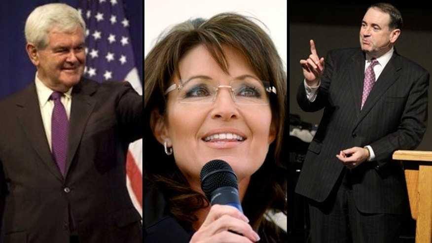 Newt Gingrich, Sarah Palin and Mike Huckabee are among the likely GOP presidential hopefuls staking out a position on the Obama tax deal. (AP)