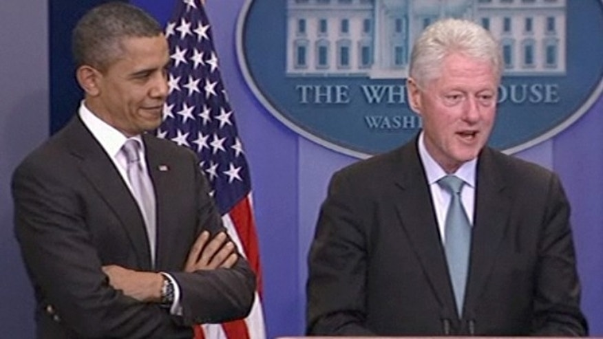 Friday: Former President Bill Clinton endorsed President Obama's tax deal with Republicans in a surprise appearance together in the White House briefing room.